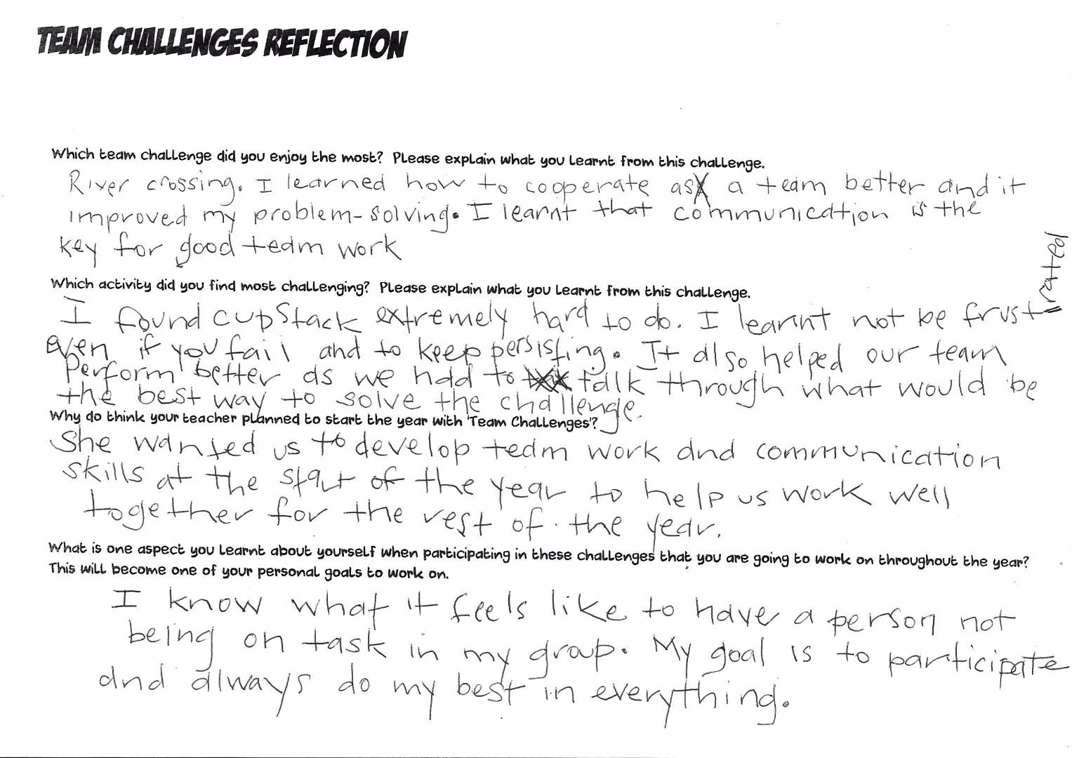 <p>Written reflection: Team challenges</p>