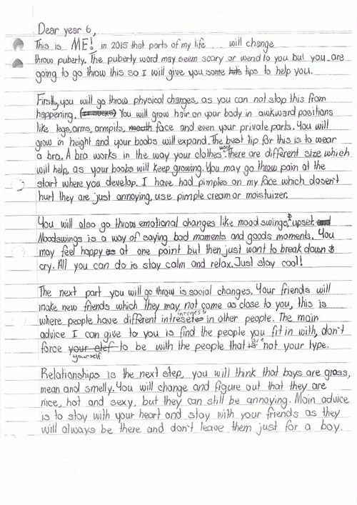 <p>Letter: Puberty advice</p>