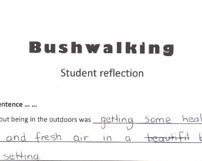 <p>Written response: Bushwalking</p>